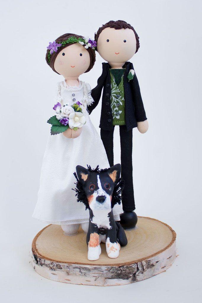 Personalisiertes Hochzeitspaar aus Holz für die Hochzeitstorte - personalisiertes Brautpaar für Hochzeitstorte