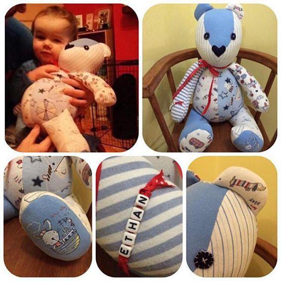 Baby clothes memory bear memento of loved handmade teddy