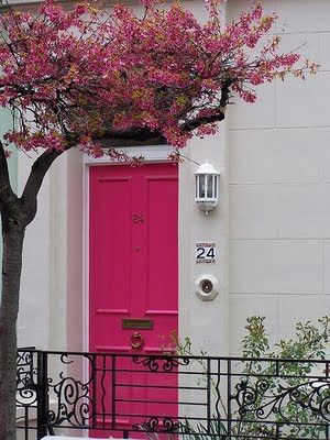 //Dreams, Pink Baby, Black Shutters, Front Doors, Hot Pink, Pink Front, White House, Pink Doors, London Apartment