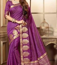 Buy purple woven cotton_silk saree with blouse banarasi-silk-saree online