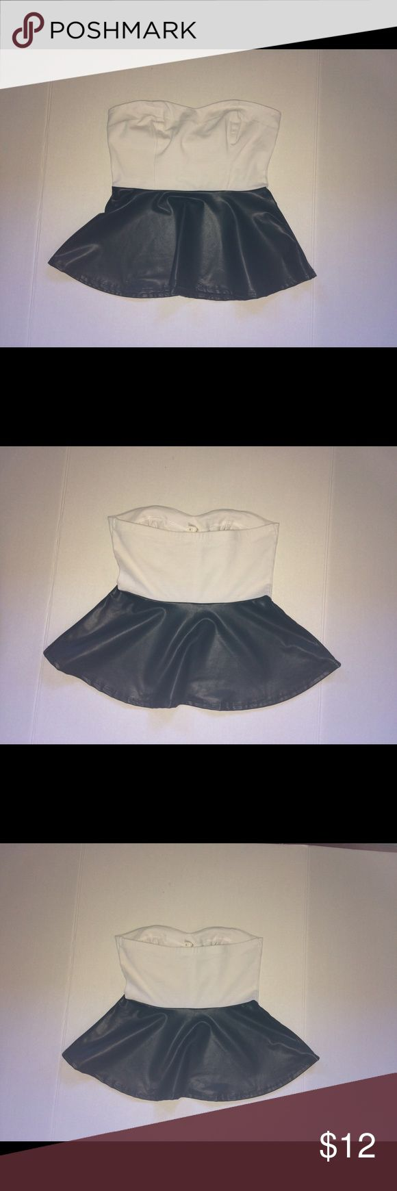 Kirra Faux leather peplum top- S Exquisite tube top/peplum top!!  The colors are cream/off-white on top, and black on the bottom. The top is fabric while the bottom is vegan leather. Kirra Tops Tunics