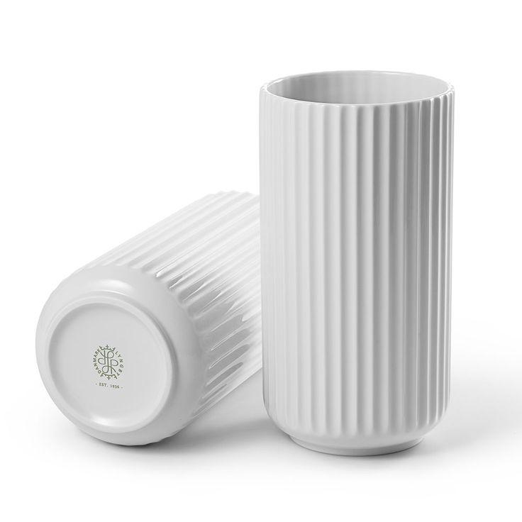 Lyngbyvasen+20cm,+Hvit,+Lyngby+Porcelæn