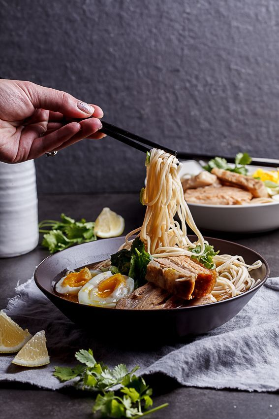 Pork belly ramen with unctuous slices of pork belly, noodles and a deeply aromatic broth.