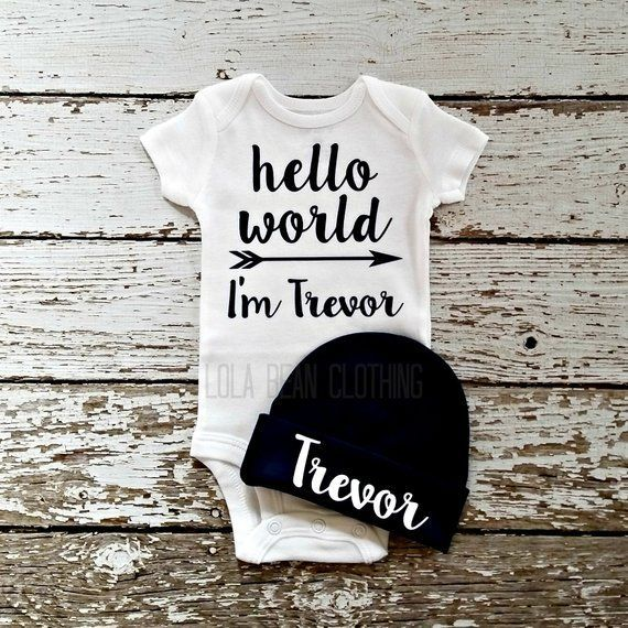 Hello Newborn onesie and beanie baby boy coming homne outfit I/'m....