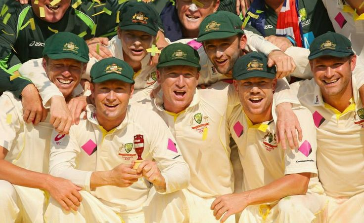 Australian Cricket Team with the Ashes