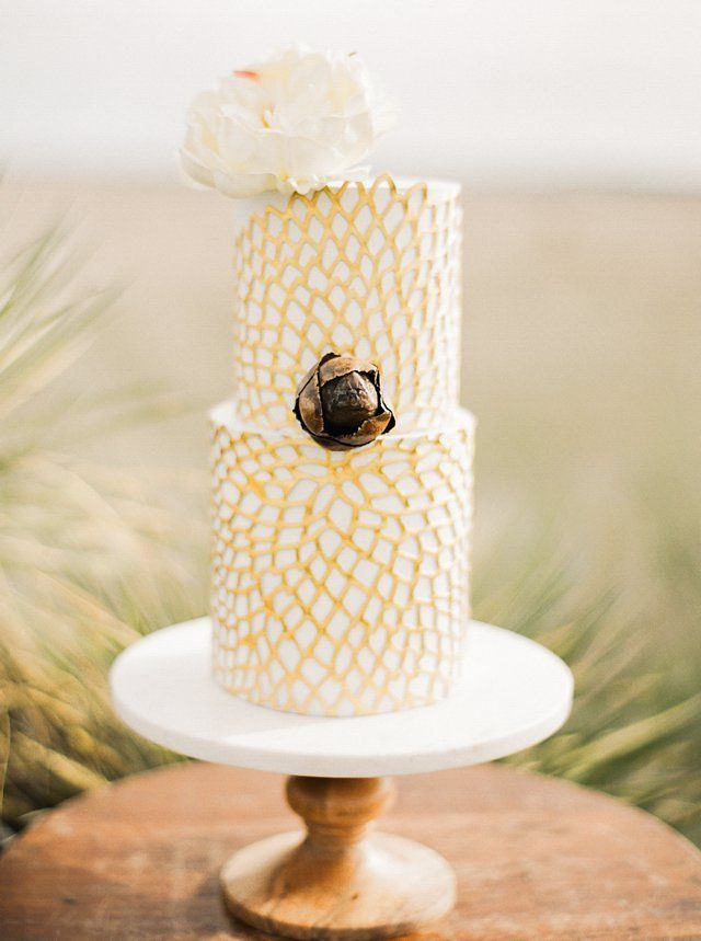 Modern tall yellow and white wedding cake | Black and Gold Wedding via @burnettsboards
