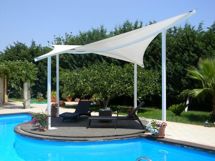Beschattung Terrasse Garten Sonnenschutz Sonnensegel Weiss Pool Vela