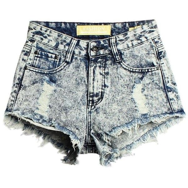 Women High Wasit Pokect Broken Hole Irregular Hem Denim Shorts (555 MXN) ❤ liked on Polyvore featuring shorts, bottoms, newchic, denim shorts, jean shorts, short jean shorts and denim short shorts