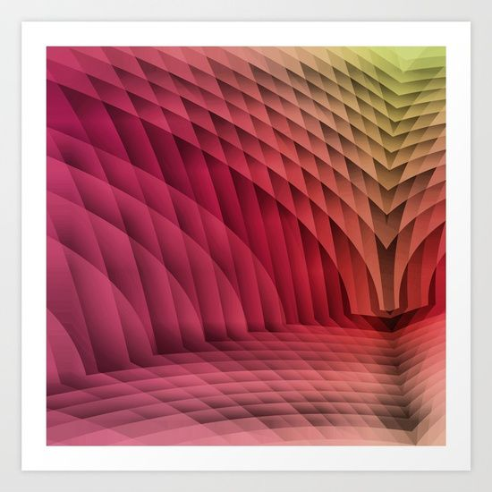 Geometric Path Magenta-Gold Art Print by Terrella.  Collect your choice of gallery quality Giclée, or fine art prints custom trimmed by hand in a variety of sizes with a white border for framing.
