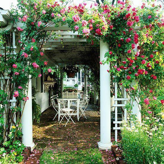 Rose-Covered Pergola: Gardens Ideas, Rose Covers, Gardens Walkways, Covers Pergolas, Outdoor Living, Climbing Rose, Romantic Gardens, Outdoor Spaces, Flower