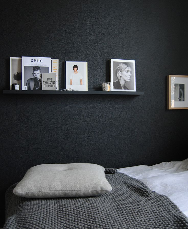 Add drama and romance with dark details in your home, such as graphic black and white Scandinavian style fine art prints, modern furniture and walls.