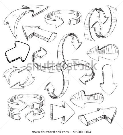 Sketch arrows set. Fast hand drawing style by Chuhail, via ShutterStock