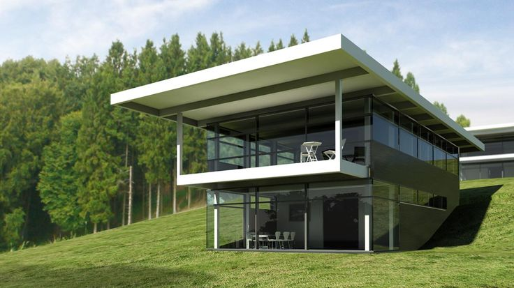 24 best house on a slope images on pinterest modern for House plans on hill slopes