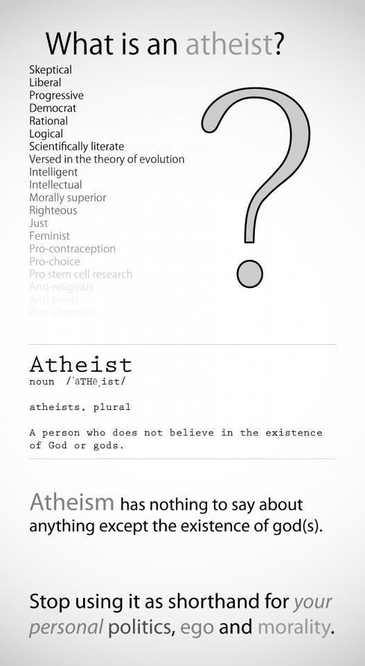Politics, Atheism, Religion, Christianity, God is Imaginary, Science, Evolution, Morality, Women, Women's Rights, Reproduction, Reproductive Rights, Birth Control, Abortion. What is an atheist? A person who does not believe in the existence of god or gods. Atheism has nothing to say about anything except the existence of god(s). Stop using it as shorthand for your personal politics, ego and morality.