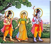 """Ram, Lakshmana and Sita during the Exile: """" Rama travelled in the front, with the beautiful Sita in the middle. Lakshmana, carrying his bow and arrows, followed them from behind."""" ( Valmiki Ramayana, Aranya Kand, 11.1 )"""