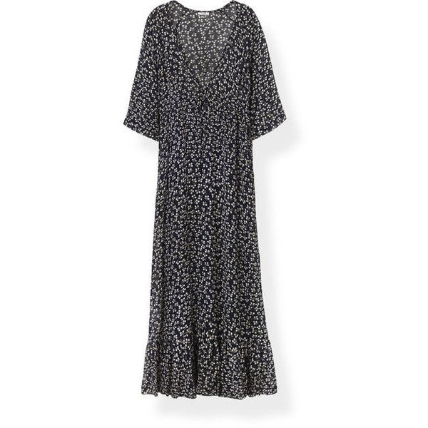 Newman Georgette Maxi Dress (1.599 DKK) ❤ liked on Polyvore featuring dresses, three quarter sleeve maxi dress, 3 4 length sleeve maxi dress, tall maxi dresses, tight maxi dress and 3 4 sleeve maxi dress