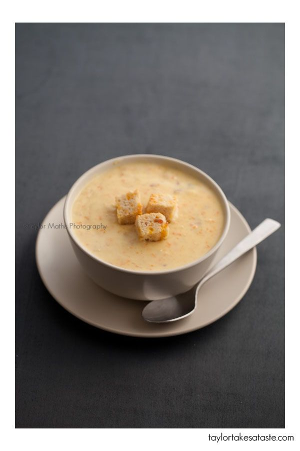 Beer Cheese Soup and Homemade Croutons.: Homemade Croutons, Bacon Soups, Beer Cheese Soups, Soups Recipes, Beer Bacon Cheese, Bacon Beer, Green Bay Packers, Green Bays Packers, Beer Chee Soups