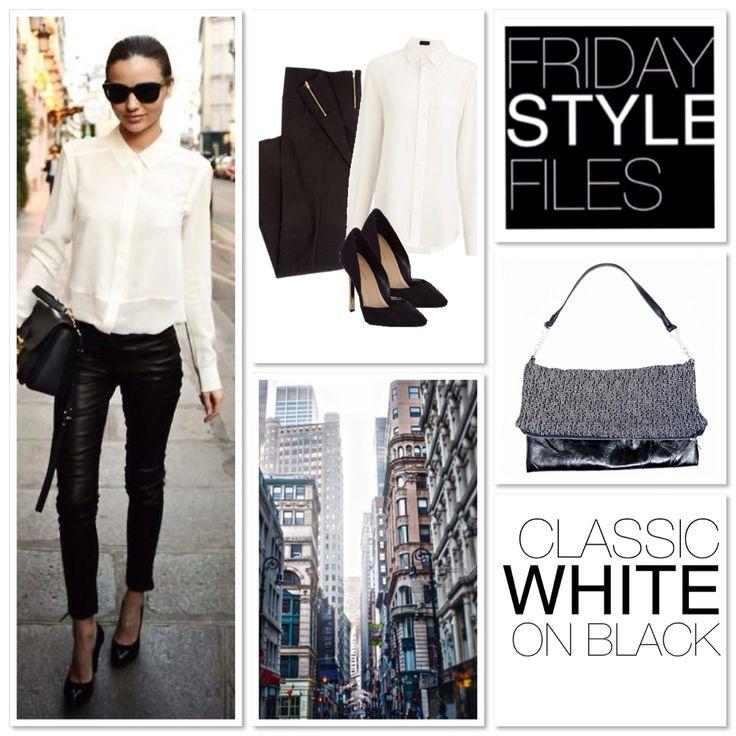 MONOCHROME // Mirander style //   #styleinspo #mirander #kerr #fashion #whiteshirt #handbag #leather #knit #streetstyle