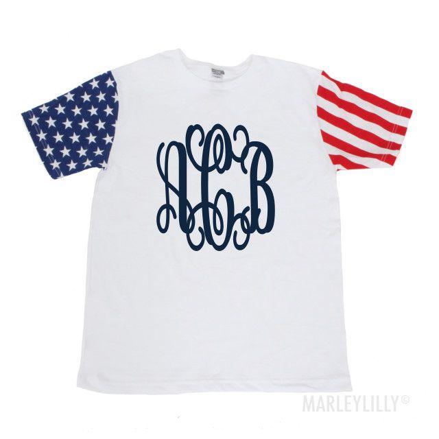 Monogrammed American Flag Short Sleeve T-Shirt | Marley Lilly