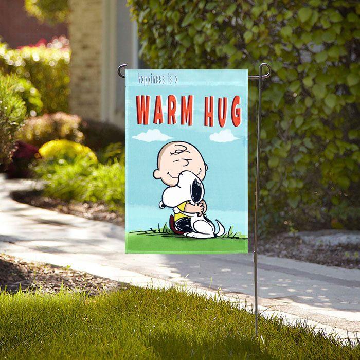 Peanuts Happiness Is A Warm Hug Garden Flag