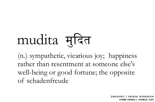 Mudita: (n.) sympathetic, vicarious joy; happiness rather than resentment at someone else's well-being or good fortune; the opposite of schadefreude.