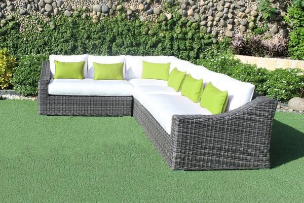 Marseille Wicker Sunbrella Natural Canvas L-Shaped Sectional Sofa  #Canada #Largesectional #outdoorfurniture #patiofurniture #white #green #whitesectional #patiosectional #cieux #cieuxpatio