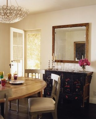 Interiors Hollywood Hills Nathan Turner Rustic Framed Mirror Over Buffet