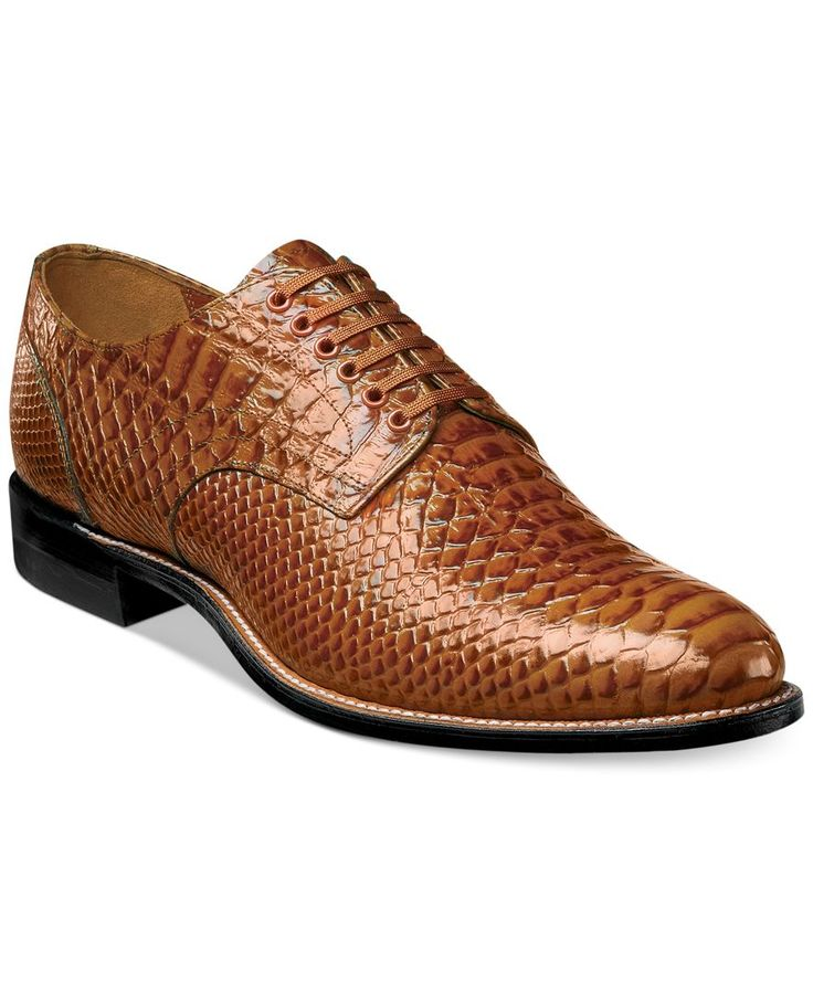 Dressy with an exotic touch. Outfit to the nines with these printed leather oxfords from Stacy Adams. | Leather upper; rubber sole | Imported | Stacy Adams men's oxfords | Exotic animal-printed upper