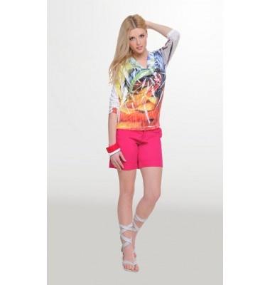 Βαμβακερό σορτς με ρεβέρ, 1-308320  shorts fuchsia women fasion