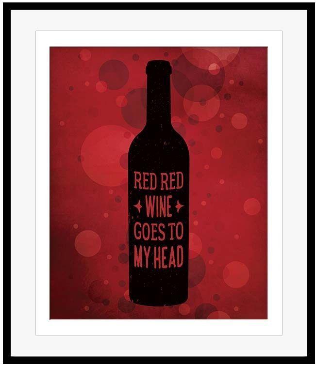 "Neil Diamond, UB40 Lyric Art Poster ""Red Red Wine "" Song Lyrics Poster Print"