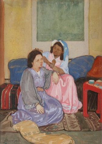 Peinture Algérie - Alger, femmes arabes von Jean Bouchaud