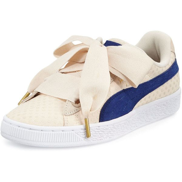 Puma Basket Heart Platform Sneaker featuring polyvore women's fashion shoes sneakers oatmeal twilight platform sneakers platform shoes lace up sneakers flat shoes polka dot shoes