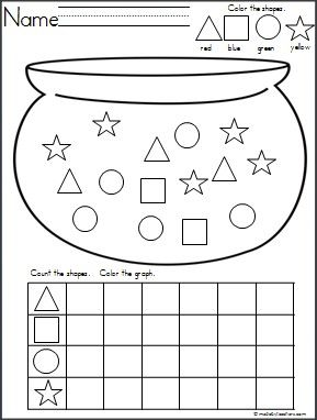 This is a Pot of Gold shapes graph available on Madebyteachers.com.  Great for St. Patrick's Day and March. {freebie}