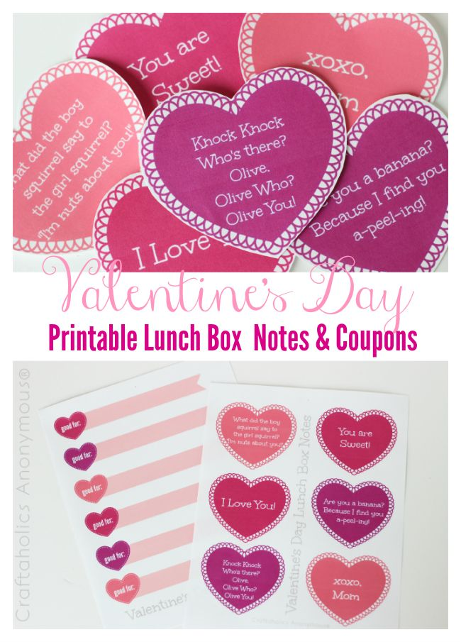 printable valentines day lunch box notes and jokes jokes valentines and coconut. Black Bedroom Furniture Sets. Home Design Ideas