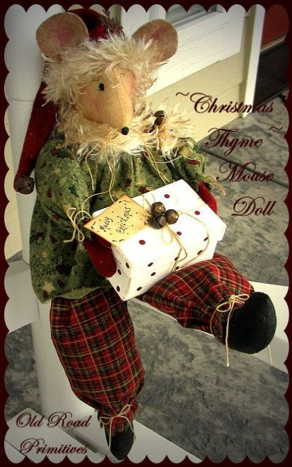 Primitive Christmas Thyme Mouse Doll Pattern-Primitive Christmas…