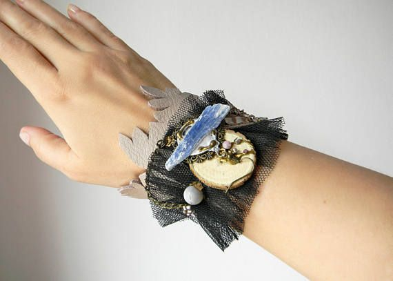 Steampunk leather and tulle cuff wide bracelet Fabric cuff