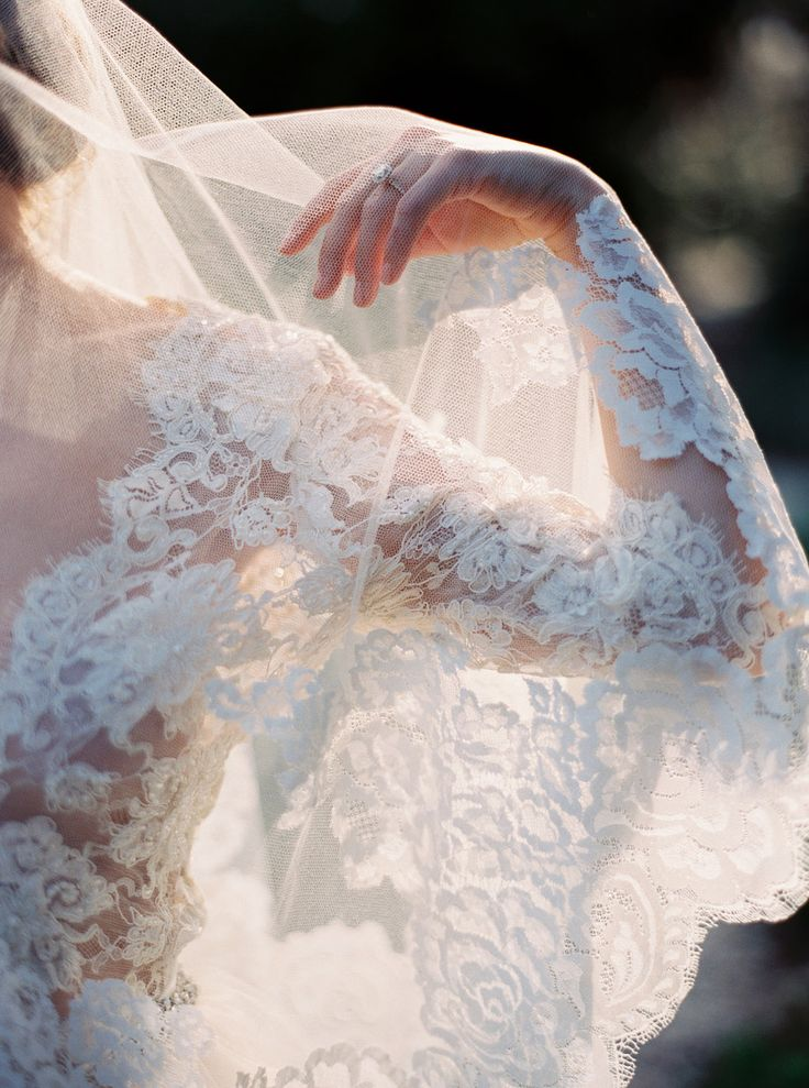 Lace #wedding dress and veil by Emily Riggs, image by Erich McVey. #bride #bridal