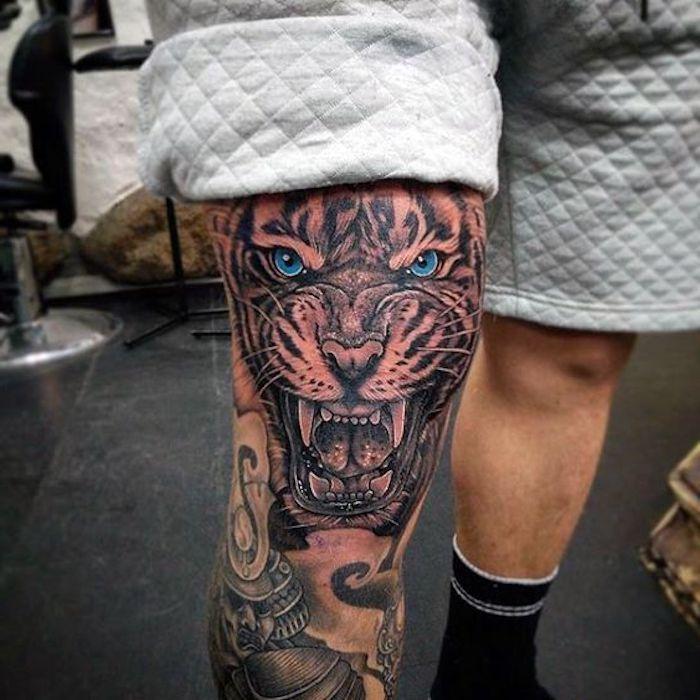 Tattoo Ideen Oberschenkel Mann   Knee tattoo, Leg sleeve