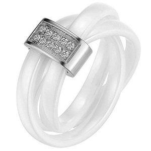 JewelryWe Bijoux Bague Femme Anneaux Entrelacé Faux Diamant Mariage Céramique Acier Inoxydable Anneaux Fantaisie Couleur Argent Blanc…