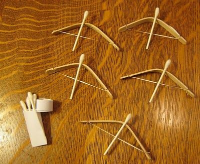 Bows and arrows that really shoot far from popsicle sticks, dental floss, and q tips.