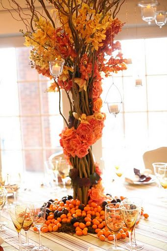 #Fall #tabledisplay #decor #orange #centerpiece #pretty #flowers