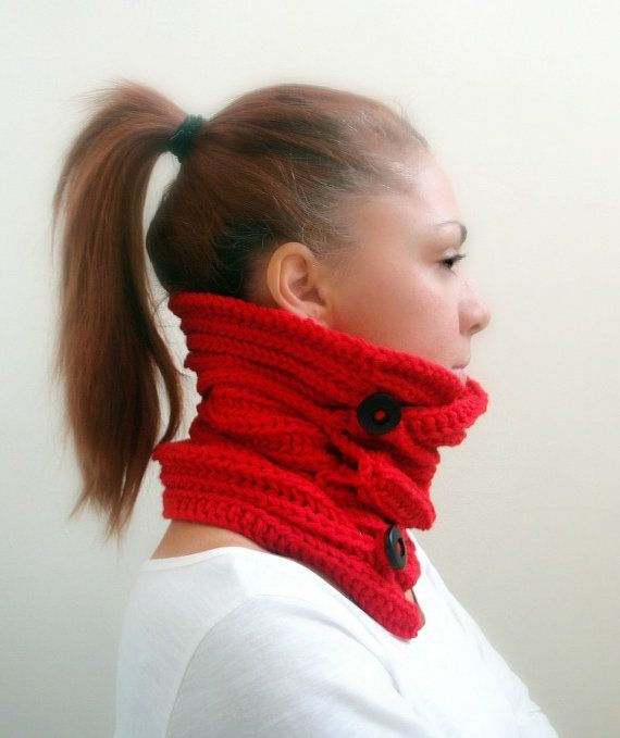 Red hand knitted cowl neck warmer with two wooden buttons by Kikoa, $40.00