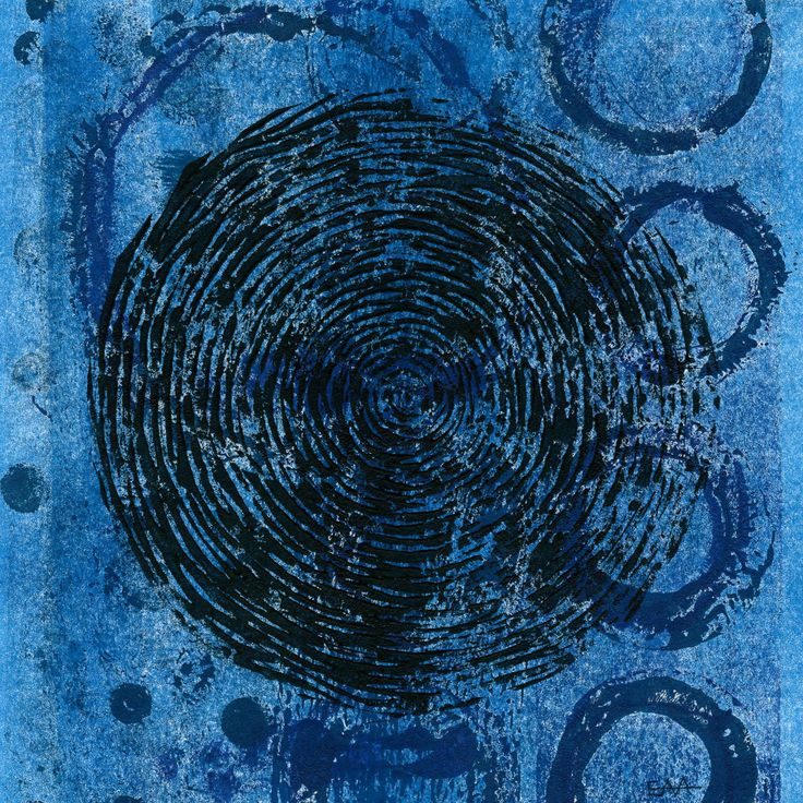 Liz Arnold Ignoring the Distractions 1 Ignoring the less important distractions is a skill not easy to acquire! Blue monoprint overprinted in black with artist-made linocut 18x18cm unframed $95