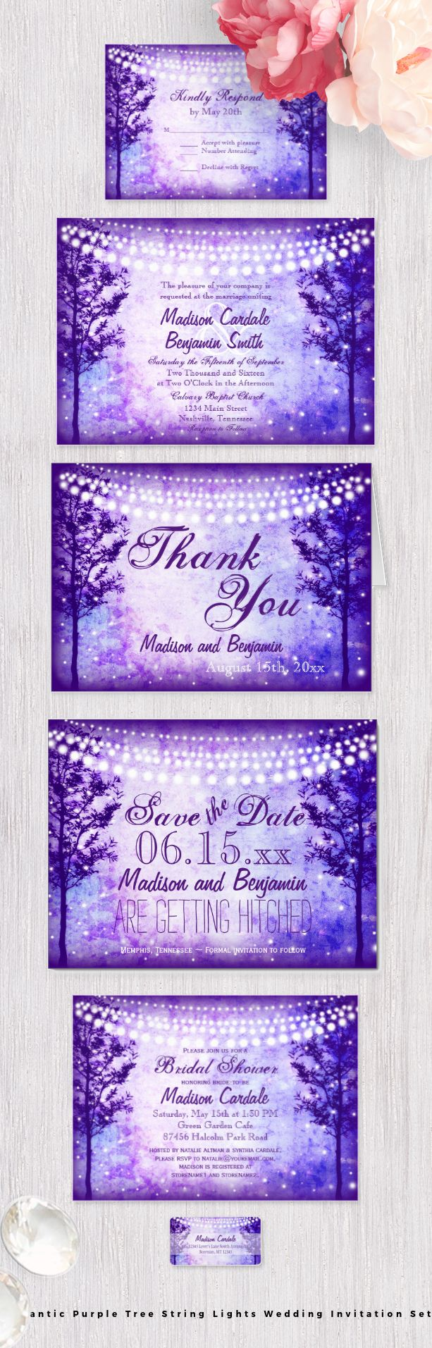Romantic Rustic Purple Trees String of Lights Wedding Invitation Set with two trees and garden hanging lights and twinkle fairy lights.  These would be great for a rustic country wedding or evening garden wedding. #wedding #purple