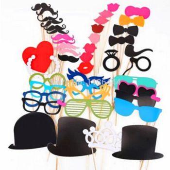 gratis verzending 1 set van 44 stuks foto booth rekwisieten glazen snor lip op een stokje bruiloft verjaardag leuke gunst my4j