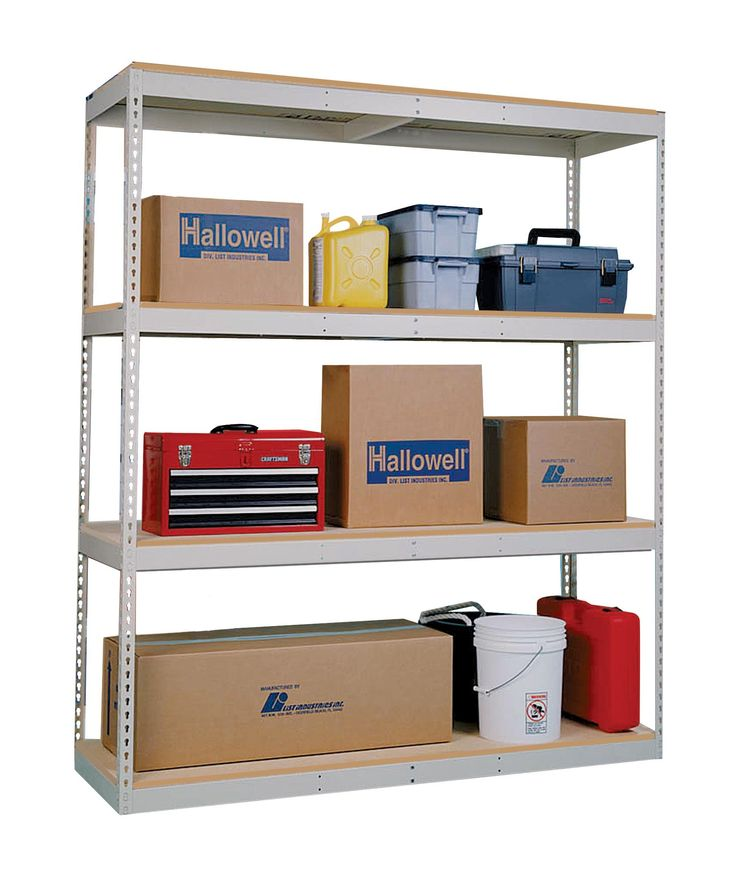 "Hallowell DRHC964884-4S Rivetwell Double Rivet Boltless Shelving, 96"" Width x 48"" Depth x 84"" Height, 4 Levels Starter Unit Heavy-duty Angle Beam with Center Support, 729 Parchment"