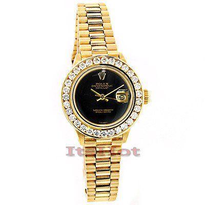 Rolex 18K Yellow Gold Datejust Ladies Custom Diamond Watch 2.50ct