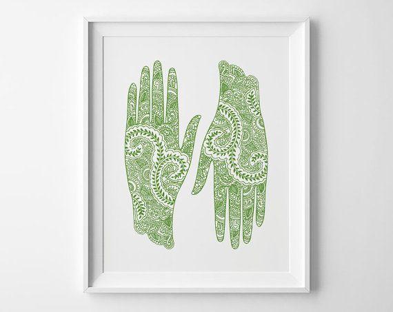 Yoga Poster Mehndi Art Hands Inspirational by SweetPeonyPress, $10.00
