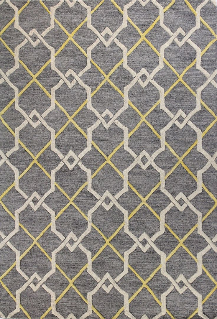 anchor vibrant decor or define an area in the living room with this chic handtufted wool rug showcasing a geometric motif in grey
