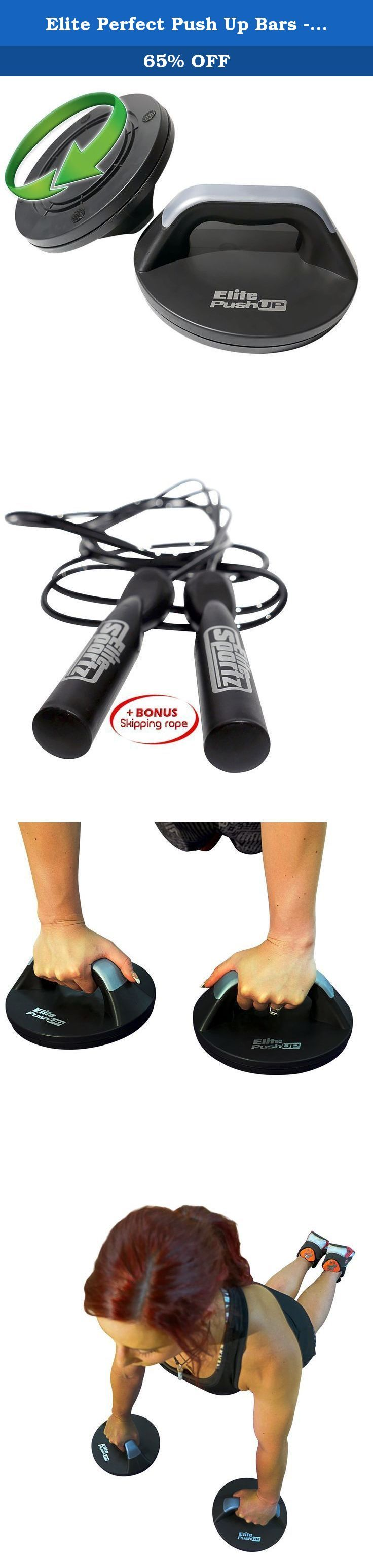Elite Perfect Push Up Bars - Comfortable Rotating Push Up Handles, Comes Fully Assembled, Reduced Strain on the Wrists and includes a Skipping Rope. Are You Looking to Add Some Serious Muscle to Your Upper Body and Some Awesome Core Strength?....All While Looking After of Your Wrists Benefits: - Add Muscle Fast - Get Stronger Faster - Better Sporting Performance - Great Looking Upper Body - Way More Comfortable - Reduced Risk of Wrist Injury or Pain - Train Whenever You Want - Increased...